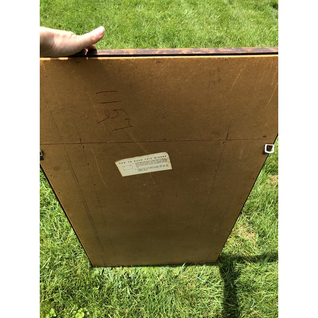 """Large 48"""" Chinoiserie Gold Faux Bamboo Mirror W Surrounding Smoked Mirrors-See Pictures For Sale - Image 9 of 10"""
