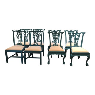 1950s Vintage Laquered Carved Wood Dining Chairs - Set of 8 For Sale