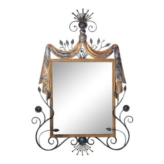 Gilbert Poillerat Style Parcel-Gilt Wrought Iron Mirror For Sale