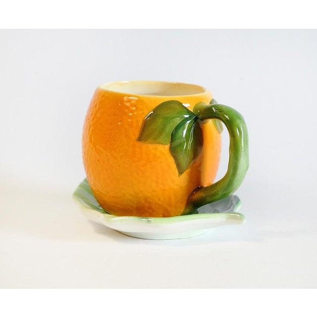 Majolica Orange Cup and Leaf Saucer - Image 3 of 6