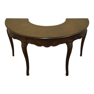 """Vintage Antique Solid Walnut Louis XVI French Provincial 57"""" Half Moon / Half Circle Carved Accent Table For Sale"""