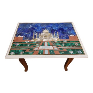 20th Century Figurative Inlaid Panel of Taj Mahal Table For Sale