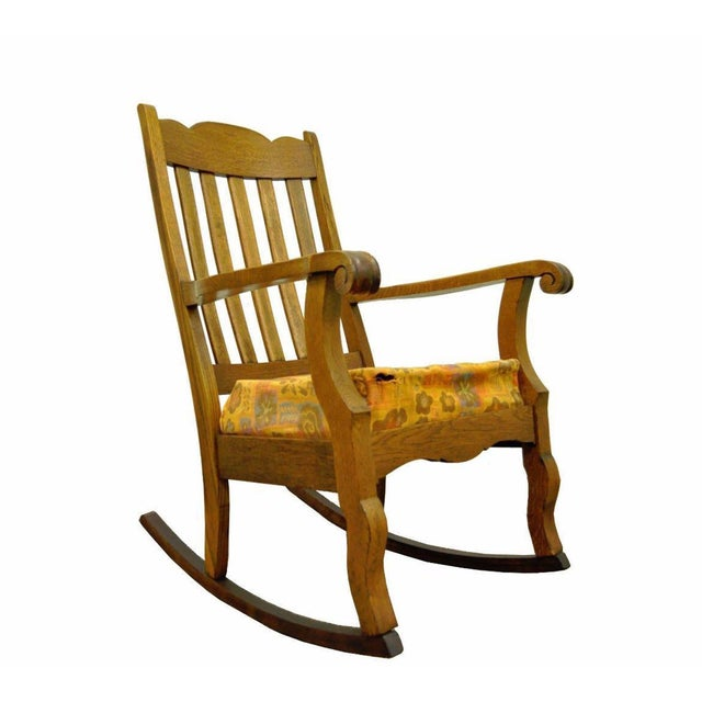 Antique Mission Arts & Crafts Carved Solid Oak Rocking Lounge Chair Rocker Vintage For Sale - Image 11 of 11