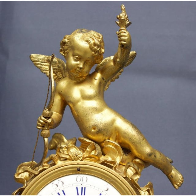 Gold Early 19th Century Antique French Louis XVI Style Figural Clock For Sale - Image 8 of 11
