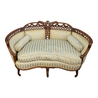 1930s Vintage French Regency Style Cream Painted Loveseat For Sale