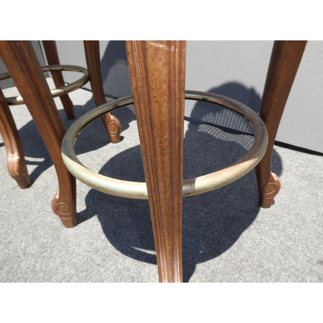 Vintage French Provincial Leather & Cane Bar Stools - A Pair - Image 10 of 11