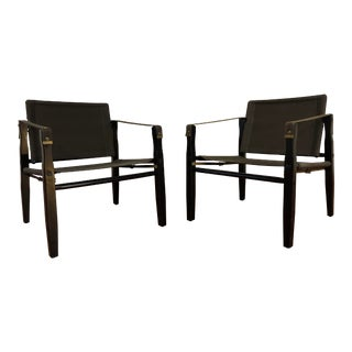 Vintage Gold Medal Safari Chairs -Wood and Canvas - a Pair For Sale