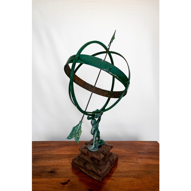 Art Deco 1940 the Archer Swedish Armillary/Sundial on Wood Base For Sale - Image 3 of 9