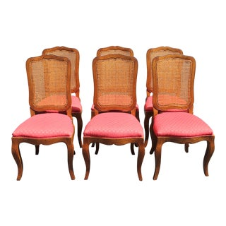 """Baker Caned Dining Chairs """"Louis Xv"""" Style Mid Century Vintage - Set of 6"""