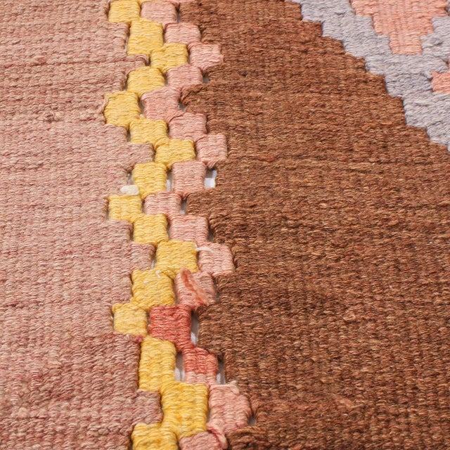 """1930s Vintage Mid-Century Geometric Pink and Yellow Wool Kilim Rug-7'3'x13'10"""" For Sale In New York - Image 6 of 8"""