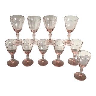 Vintage Pink Cordial Glasses - Set of 10