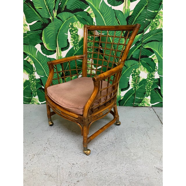 Rattan and Brass Dining Set For Sale - Image 4 of 10