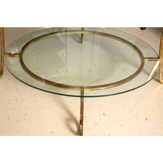 Hollywood Regency Three-Tier Glass & Gilt Metal Etagere Server or Stand For Sale - Image 3 of 7