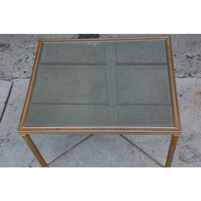 1950s Elegant Gold Side Table With Antique Mirrored Glass For Sale - Image 5 of 7