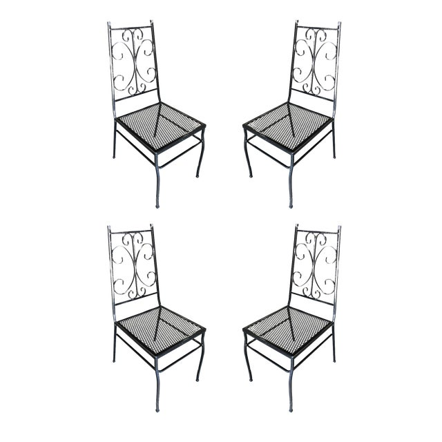Mid Century Outdoor/Patio Side Chair With Scrolling Pattern - Set of 4 For Sale