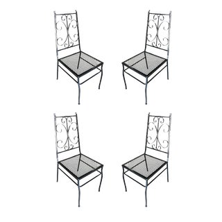 Mid Century Outdoor/Patio Side Chair With Scrolling Pattern, Set of Four For Sale