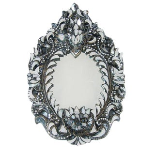 Oval Hand Cut Glass Mirror For Sale