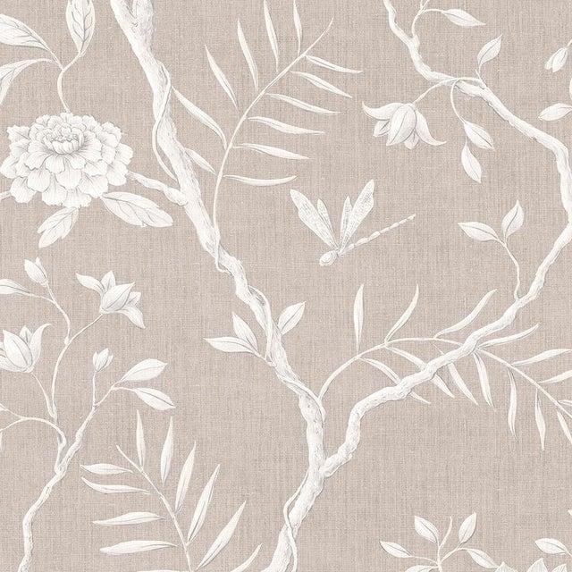 "Lewis & Wood Jasper Peony Almond Bespoke Extra Wide 52"" Botanic Style Wallpaper For Sale"