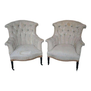 Pair of Tufted and Scroll Back Armchairs