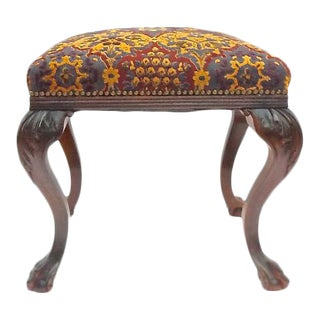 Antique Upholstered Acanthus Cabriole Legs Stool