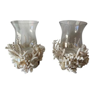 Medium White Shell and Coral Hurricane Lamps - a Pair For Sale