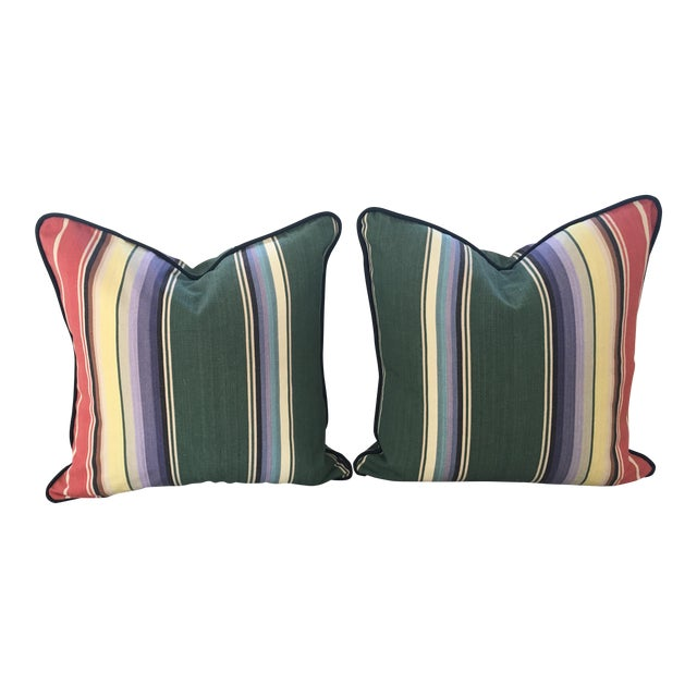 Awning Stripe Custom Pillows - A Pair For Sale