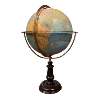 Mid-19th Century French Terrestrial Globe With Brass Frame Signed Ch. Perigot For Sale