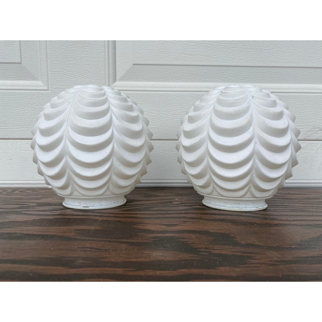 White Art Deco Glass Globe Lamp Shades - a Pair For Sale In Milwaukee - Image 6 of 6
