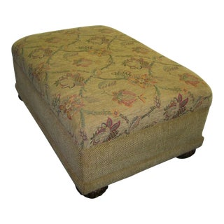 Large Modern Tan & Floral Upholstered Chenille Ottoman For Sale
