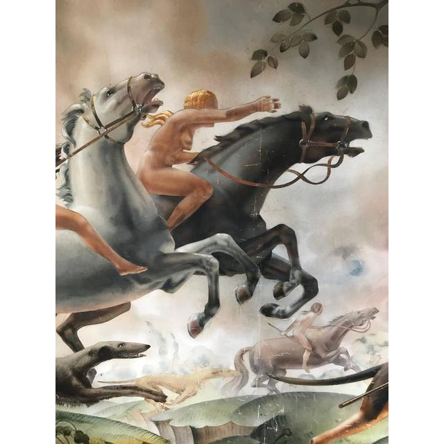 Large Art Deco Mural of Diana the Huntress For Sale - Image 4 of 8