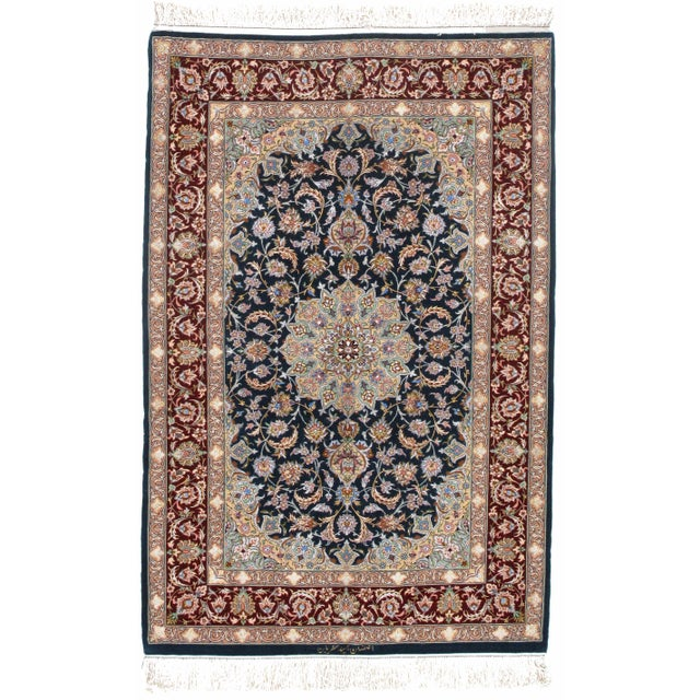 2010s Pasargad Persian Isfahan Korker Wool & Silk Highlighted Rug - 3′8″ × 5′5″ For Sale - Image 5 of 5