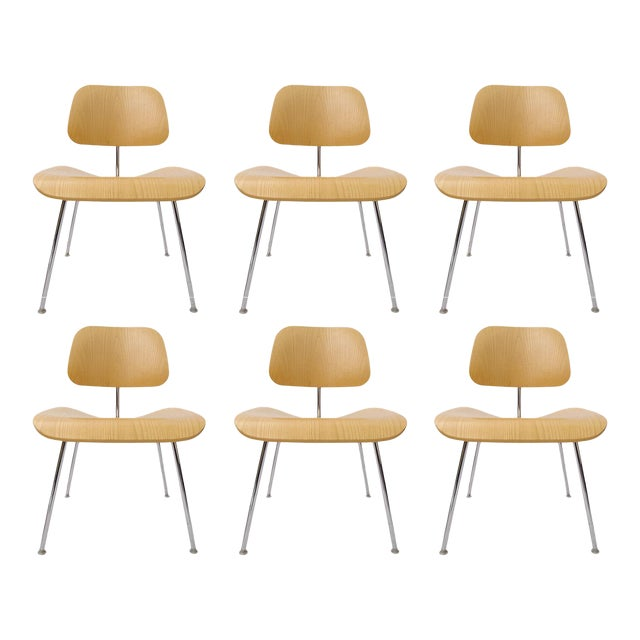 "Charles Eames ""DCM"" Chairs for Herman Miller in White Ash - Set of 6 - Image 1 of 7"