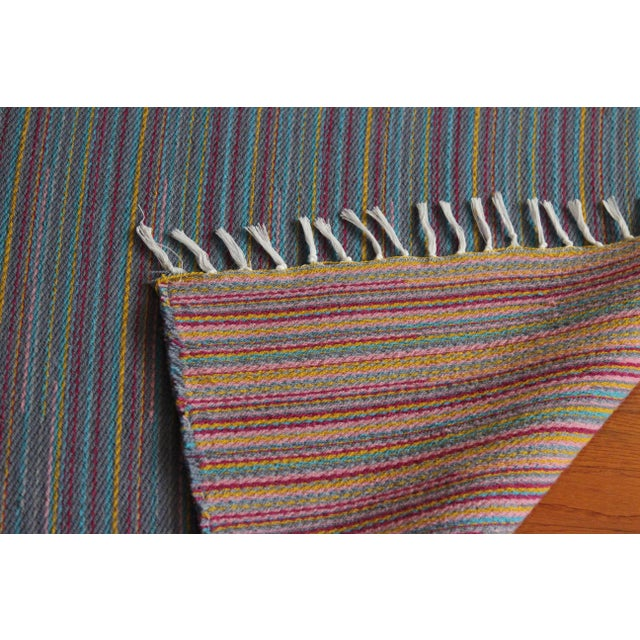 "Flat Weave Wool Striped Blue Kilim Rug - 2'8"" x 7'6"" - Image 9 of 10"