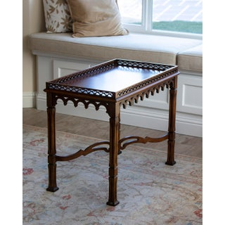 1990s Chippendale Lane Solid Wood Accent Table With Fretwork Preview