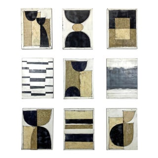 """""""Wired"""" Contemporary Abstract Encaustic Paintings by Gina Cochran - Set of 9"""