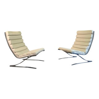 Mid-Century Modern Design Institute America High Back Chrome Cantilever Lounge Chairs - a Pair For Sale