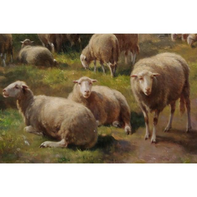 Cornelius Van Leemputten-Flock of Sheeps-Beautiful 19th C. Oil Painting For Sale In Los Angeles - Image 6 of 10