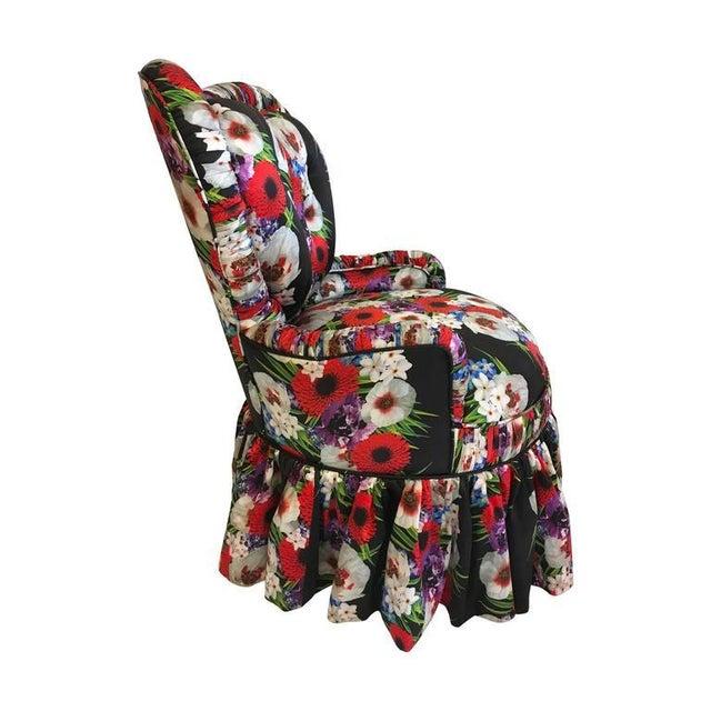 Dolce & Gabbana Victorian heart back silk upholstered chair.