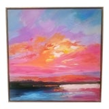 Image of Contemporary Orange and Red Oil Painting - Orange Sky 20 X 20 For Sale