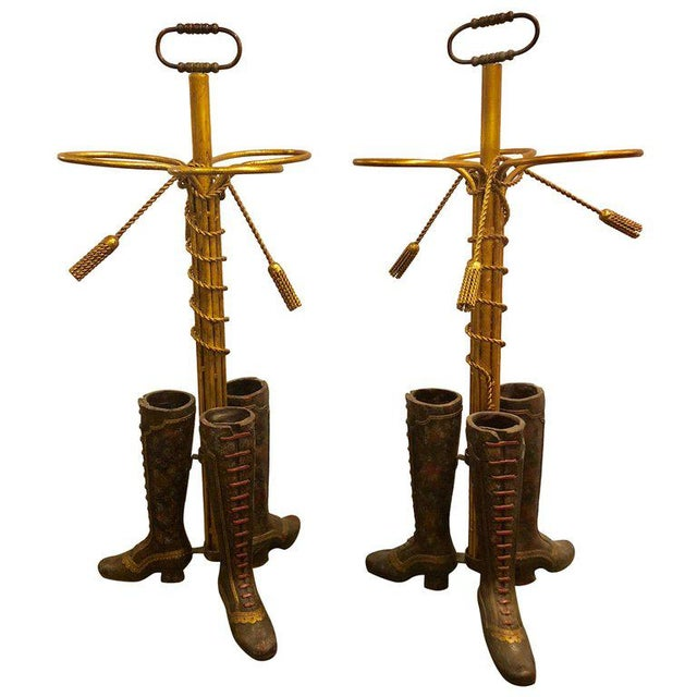 A Pair of Umbrella Stands Each Depicting Painted Boots on Bronze From Base For Sale - Image 12 of 12