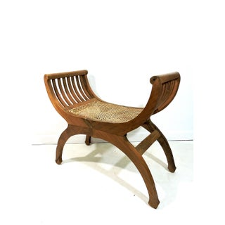 Late 20th Century Vintage Teak Wood & Wicker Seat Anglo Indian Traditional Style Bench Stool Preview