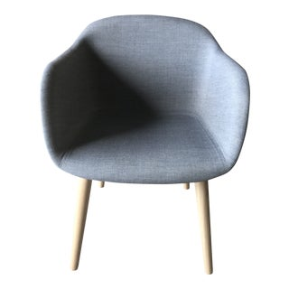 Muuto Gray Fabric Natural Wood Base Fiber Armchair For Sale