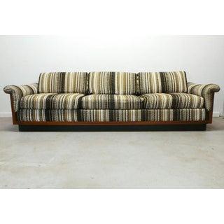Mid Century Boho Modern Walnut Milo Baughman Style Sofa Preview