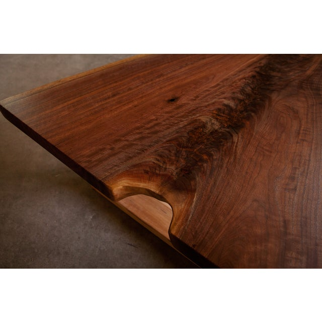 Live Edge Walnut Coffee Table With Maple Base - Image 4 of 6