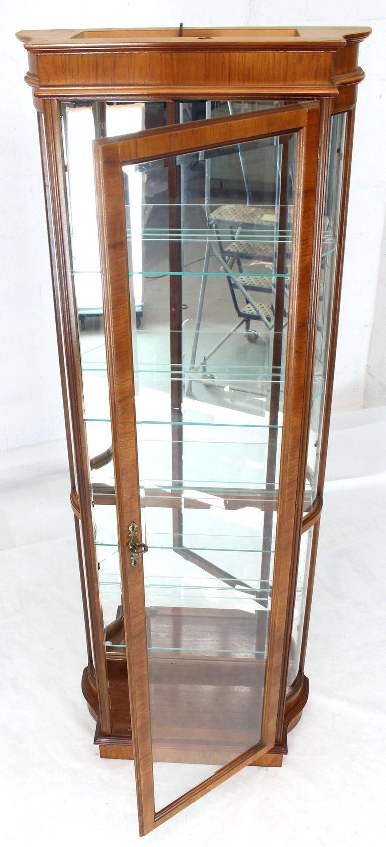 Tall Narrow Walnut And Mahogany Curved Glass Curio Cabinet For Sale   Image  4 Of 11