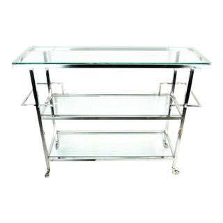Mid-Century Metal Wheeled Three Tiered Glass Bar Cart For Sale