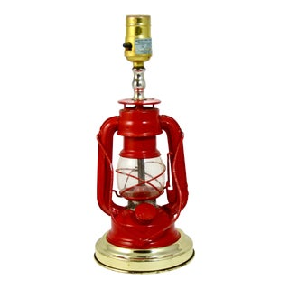 1970s Red Lantern With Brass Base Camping Motif Lamp For Sale