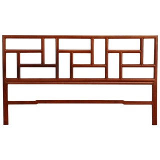 Midcentury Chinese Carved Hardwood Geometric Headboard For Sale