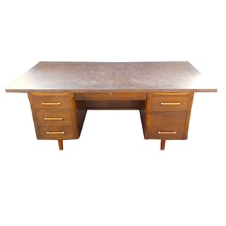 Mid Century Modern Wood Executive Junior Desk For Sale