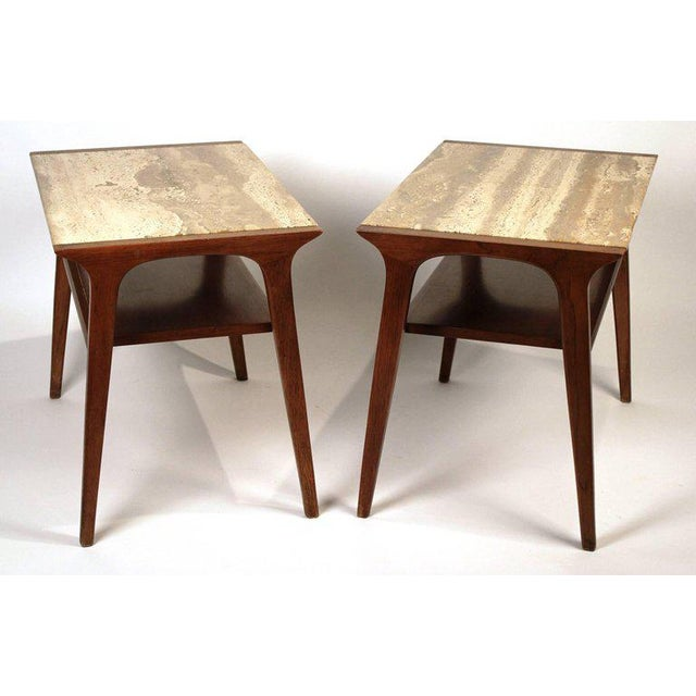 John Van Koert Walnut and Travertine Side Tables for Drexel For Sale - Image 9 of 10
